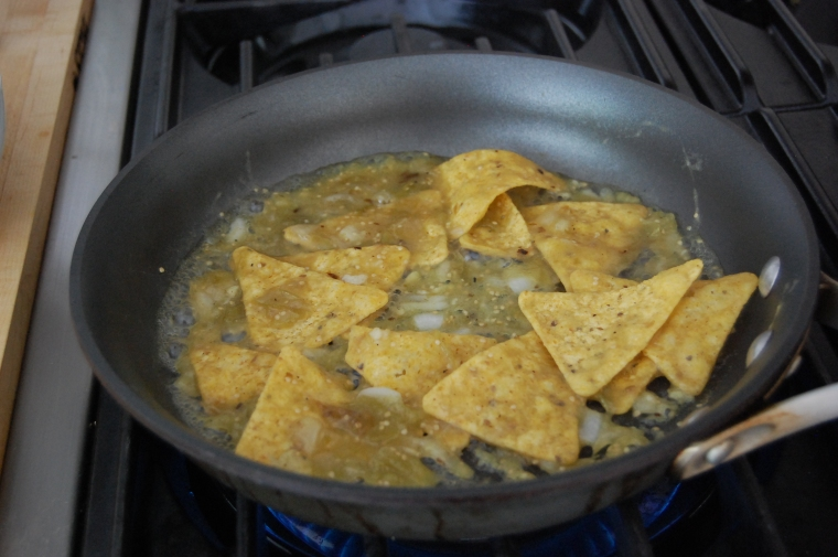 Chilaquiles chips cooking